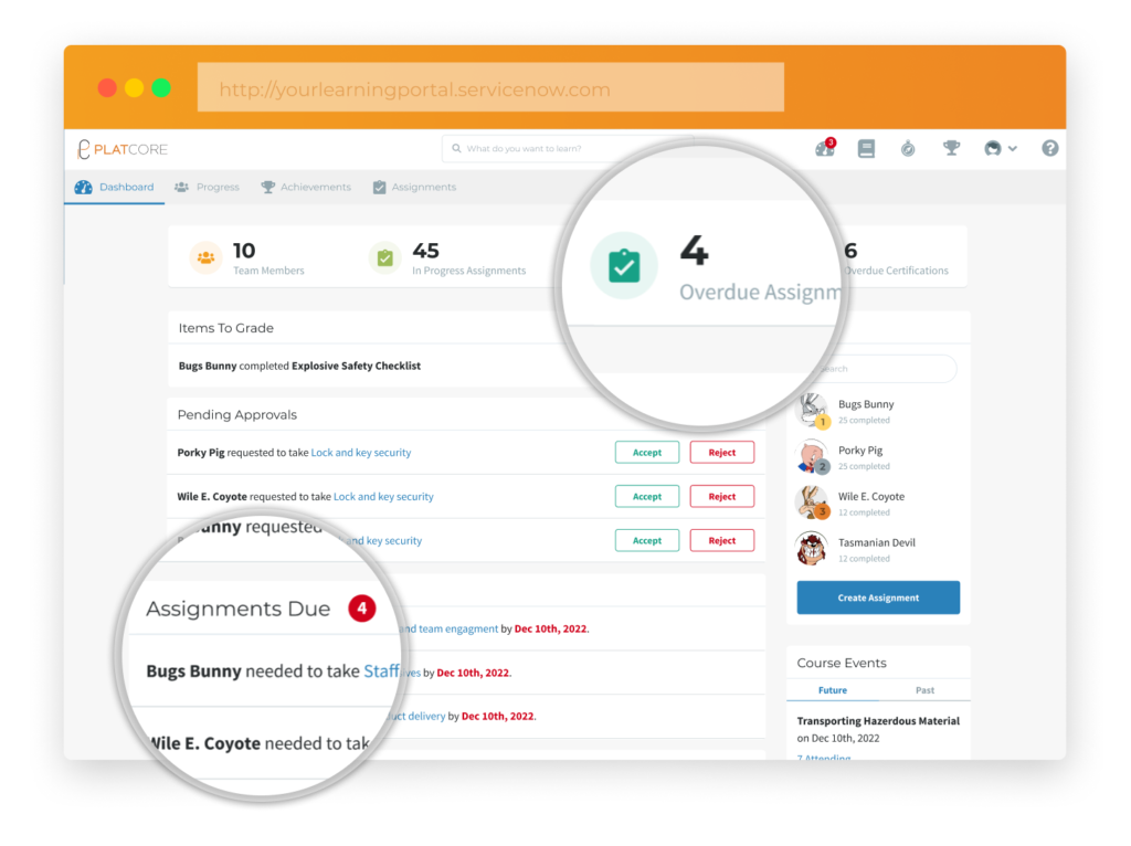 PlatCore ServiceNow LMS Manager Dashboard